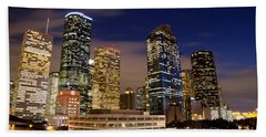 Downtown Houston At Night Bath Towel