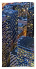Downtown Seattle Buildings Details Hand Towel by Mike Reid