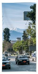 Downtown Street In Santiago De Chile City And Andes Mountains Hand Towel