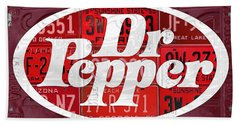 Dr Pepper Soda Pop Beverage Vintage Retro Logo Recycled License Plate Art Hand Towel