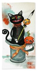 Dracula Vintage Cat Bath Towel