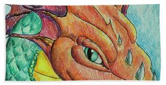 Hand Towel featuring the drawing Dragon Portrait by Yulia Kazansky