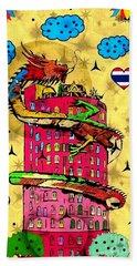 Dragon Tower Popart By Nico Bielow Bath Towel by Nico Bielow