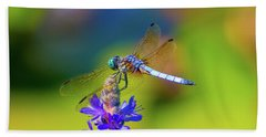 Dragonfly And Purple Flower Hand Towel