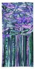 Hand Towel featuring the mixed media Dragonfly Bloomies 1 - Lavender Teal by Carol Cavalaris
