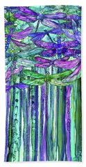Hand Towel featuring the mixed media Dragonfly Bloomies 1 - Purple by Carol Cavalaris