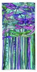 Bath Towel featuring the mixed media Dragonfly Bloomies 1 - Purple by Carol Cavalaris