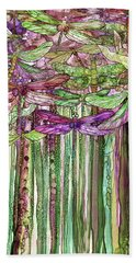 Bath Towel featuring the mixed media Dragonfly Bloomies 1 - Pink by Carol Cavalaris