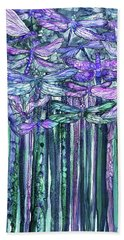 Bath Towel featuring the mixed media Dragonfly Bloomies 2 - Lavender Teal by Carol Cavalaris