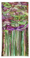Bath Towel featuring the mixed media Dragonfly Bloomies 2 - Pink by Carol Cavalaris