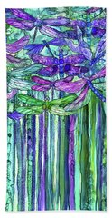 Hand Towel featuring the mixed media Dragonfly Bloomies 2 - Purple by Carol Cavalaris