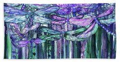 Bath Towel featuring the mixed media Dragonfly Bloomies 3 - Lavender Teal by Carol Cavalaris