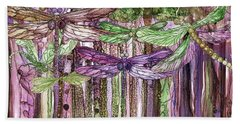 Hand Towel featuring the mixed media Dragonfly Bloomies 3 - Pink by Carol Cavalaris