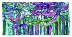 Hand Towel featuring the mixed media Dragonfly Bloomies 3 - Purple by Carol Cavalaris