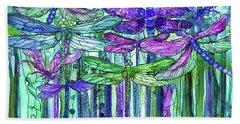 Bath Towel featuring the mixed media Dragonfly Bloomies 3 - Purple by Carol Cavalaris