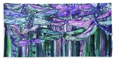 Bath Towel featuring the mixed media Dragonfly Bloomies 4 - Lavender Teal by Carol Cavalaris