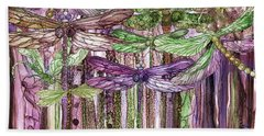 Hand Towel featuring the mixed media Dragonfly Bloomies 4 - Pink by Carol Cavalaris