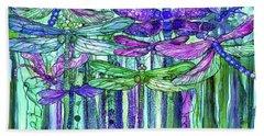 Bath Towel featuring the mixed media Dragonfly Bloomies 4 - Purple by Carol Cavalaris