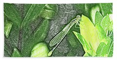 Dragonfly In Green Repose Hand Towel