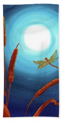 Dragonfly In Teal Moonlight Hand Towel