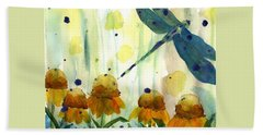 Dragonfly In The Wildflowers Bath Towel by Dawn Derman