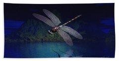 Dragonfly Night Reflections Bath Towel