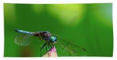 Dragonfly On Lotus Bud Hand Towel