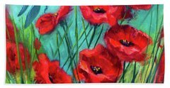 Dragonfly Poppies Bath Towel