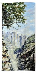 Hand Towel featuring the painting Drakensberg by Heidi Kriel