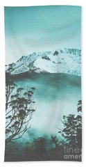 Dramatic Dark Blue Mountain With Snow And Fog Bath Towel