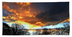 Dramatic Sky With Filigree Trees. Bath Towel