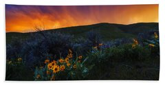 Dramatic Spring Sunset In Boise Idaho Usa Hand Towel