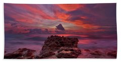 Dramatic Sunrise Over Coral Cove Beach In Jupiter Florida Hand Towel by Justin Kelefas