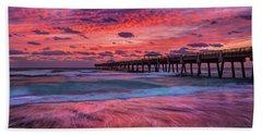 Dramatic Sunrise Over Juno Beach Pier, Florida Hand Towel