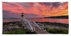 Dramatic Sunset At Marshall Point Lighthouse Bath Towel
