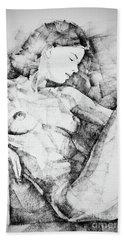 Drawing Beautiful Girl Figure Bath Towel