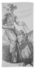 Drawing Pencil Cowboy On Horse #17119 Bath Towel