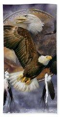 Dream Catcher - Spirit Eagle Hand Towel by Carol Cavalaris