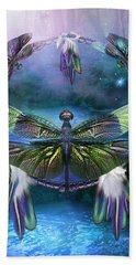 Dream Catcher - Spirit Of The Dragonfly Bath Towel