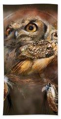 Bath Towel featuring the mixed media Dream Catcher - Spirit Of The Owl by Carol Cavalaris