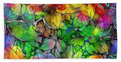 Hand Towel featuring the digital art Dream Colored Leaves by Klara Acel