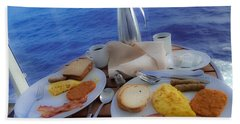 Hand Towel featuring the photograph Dreaming Of Breakfast At Sea by DigiArt Diaries by Vicky B Fuller