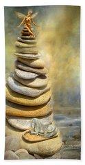 Bath Towel featuring the mixed media Dreaming Stones by Carol Cavalaris