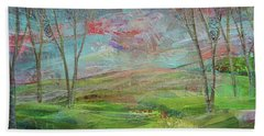 Bath Towel featuring the painting Dreaming Trees by Shadia Derbyshire