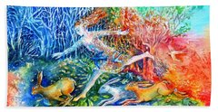 Bath Towel featuring the painting Dreaming With Hares by Trudi Doyle