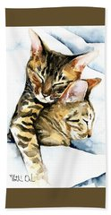 Dreamland - Bengal And Savannah Cat Painting Bath Towel