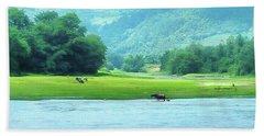 Animals In Li River Hand Towel