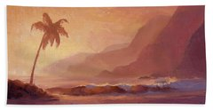 Bath Towel featuring the painting Dreams Of Hawaii - Tropical Beach Sunset Paradise Landscape Painting by Karen Whitworth