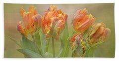 Dreamy Parrot Tulips Bath Towel by Ann Bridges