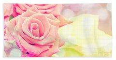 Dreamy Pastel Roses Hand Towel
